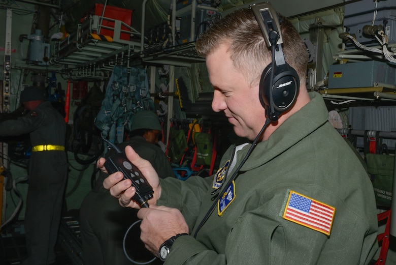 Master Sgt. Zak Johnson, a reserve aeromedical technician with the 934th Aeromedical Evacuation Squadron, verifies functionality of his in-flight communication unit prior to participating in a trainer mission at the Minneapolis-St. Paul Air Reserve Station, Minn., on Jan. 8, 2018. Johnson is an instructor during the exercise where he ensures the members of the team are able to respond accordingly to any medical situation that may occur during aeromedical evacuation flights. (U.S. Air Force photo by Master Sgt. Eric Amidon)