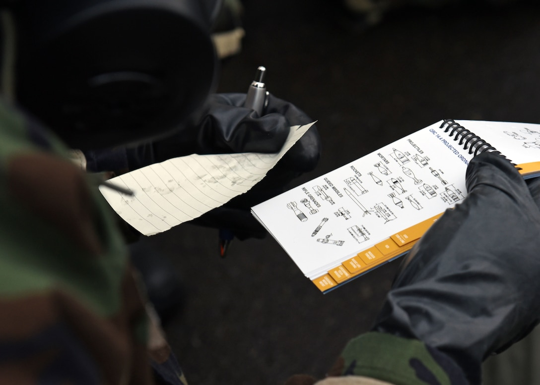 An Airmen assigned to the 62nd Airlift Wing references the Airman's Manual following a simulated attack during Exercise Winterhook, Jan. 25, 2018 on the McChord Field flightline at Joint Base Lewis-McChord. Winterhook was designed to test the preparedness of 62nd Airlift Wing and 627th Air Base Group Airmen should they need to rapidly deploy or operate in a chemical environment. (U.S. Air Force photo by Staff Sgt. Whitney Taylor)
