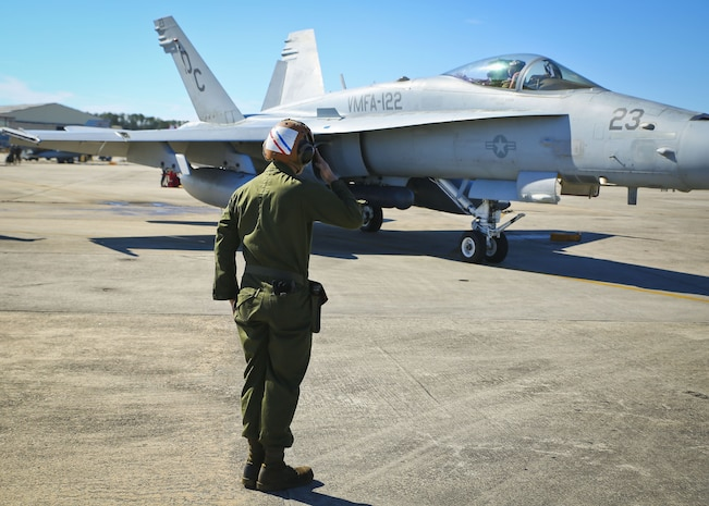 Marines perform pre-flight checks aboard Marine Corps Air Station Beaufort, Jan. 22