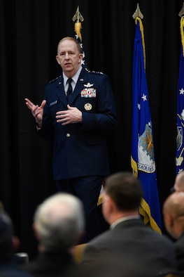 Lt. Gen. Robert D. McMurry, Air Force Life Cycle Management Center commander, delivers a State of LCMC address at a luncheon Jan. 25, 2017.