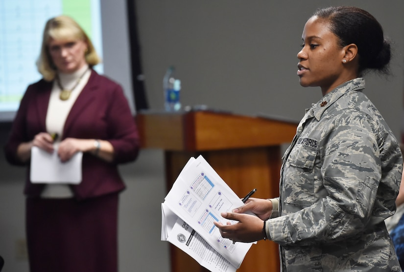 Maj. Sheontee Frank, right, Joint Base Charleston family advocacy officer, and Michelle McMeekin, right, Community Support Coordinator at Joint Base Charleston, S.C., share quarterly data gathered by the Community Action Team to joint base leadership here Jan. 26, 2018. The Community Action Team uses these meetings as an opportunity to inform base leadership on the needs and trends of military members and their families stationed at Joint Base Charleston.