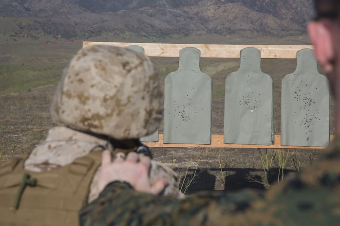 Marines with Task Force Al-Taqaddum 18.1 Rotation 6 practice marksmanship with AK-47 assault rifles as part of a foreign weapons demonstration at Marine Corps Base Camp Pendleton, California, Jan. 16, 2018.