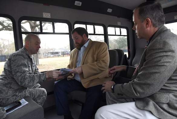 Col. Danny Davis, 81st Mission Support Group commander, briefs David Allen, legislative assistant for Congressman Steven Palazzo, on the site of the new Division Gate entrance as Mark Mills, 81st Infrastructure Division engineering flight chief, looks on during a site visit Jan. 26, 2018, on Keesler Air Force Base, Mississippi. Allen visited Keesler to learn more about the base and on-going construction projects that impact the local community, like the Division Street Gate which will begin construction this summer. (U.S. Air Force photo by Kemberly Groue)