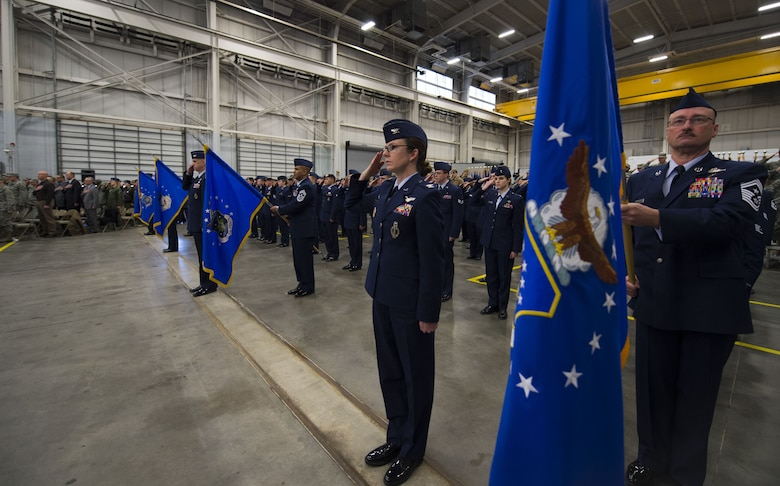 Commanders from the 90th Missile Wing, 91st MW, 341st MW and 377th Air Base Wing lead their respective units in formation during the 20th Air Force change of command ceremony at F.E. Warren Air Force Base, Wyo., Jan. 26, 2018. The 20th Air Force has approximately 10,600 professionals in its ranks charged with the nation's nuclear deterrence mission. The 20th Air Force mission is to prepare the nation's ICBM force to execute safe, secure, and effective nuclear strike operations and to support worldwide combat command requirements. (U.S. Air Force photo by Tech. Sgt. Christopher Ruano)