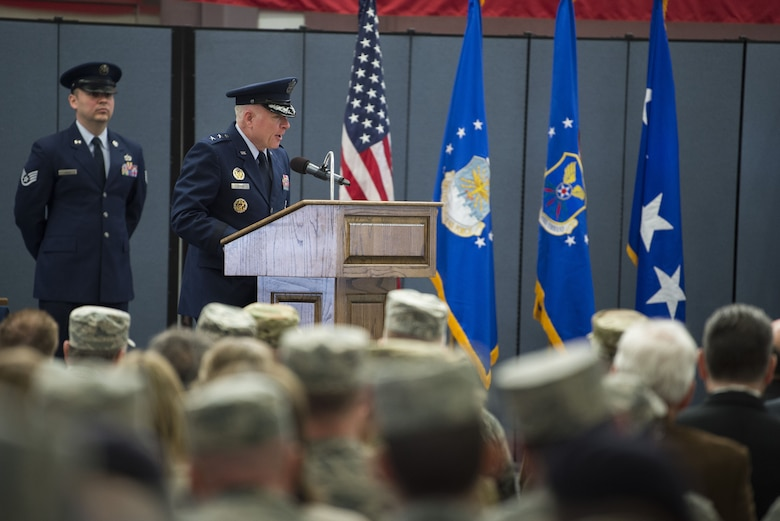 Maj. Gen. Fred Stoss, incoming 20th Air Force commander, thanks community members and the Airmen of the 20th Air Force for attending the change of command ceremony at F.E. Warren Air Force Base, Wyo., Jan. 26, 2018. Stoss' previous assignment was as the Air Force Global Strike Command director of operations and communications at Barksdale Air Force Base, Louisiana. The 20th Air Force mission is to prepare the nation's ICBM force to execute safe, secure, and effective nuclear strike operations and to support worldwide combat command requirements. (U.S. Air Force photo by Tech. Sgt. Christopher Ruano)