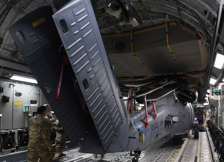 HH-60 aircraft being offloaded at Kandahar Airfield