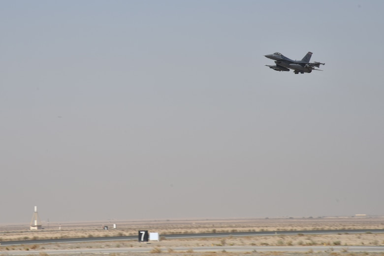 An F-16 Fighting Falcon takes off from an undisclosed location in Southwest Asia, Jan. 18, 2018. This was the last mission this pilot and aircraft performed while on their current deployment. (U.S. Air Force photo by Staff Sgt. Joshua Edwards/Released)