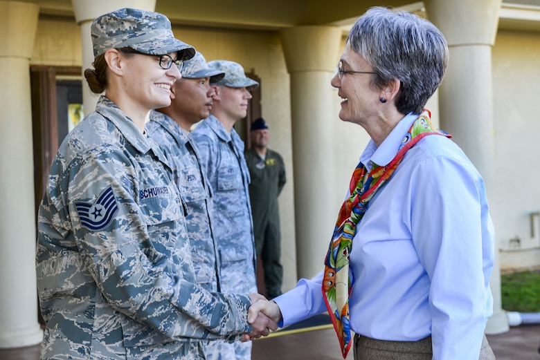 Secretary of the Air Force Heather Wilson speaks to Airmen assigned to the 36th Wing during a base visit at Andersen Air Force Base, Guam, Jan. 25, 2018. During the tour, Wilson reiterated the importance of readiness, modernization and innovations to remain the greatest Air Force in the world. (U.S. Air Force photo by Airman 1st Class Christopher Quail)