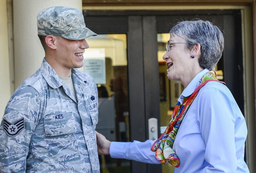 Secretary of the Air Force Heather Wilson speaks to Staff Sgt. Anthony Kies, 644th Combat Communications Squadron, during a base visit at Andersen Air Force Base, Guam, Jan. 25, 2018. During the tour, Wilson reiterated the importance of readiness, modernization and innovations to remain the greatest Air Force in the world. (U.S. Air Force photo by Airman 1st Class Christopher Quail)