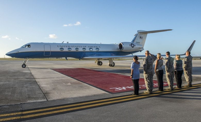 Secretary of the Air Force Heather Wilson departs Andersen Air Force Base, Guam, Jan. 25, 2018. This visit marks the first time she has been to Andersen AFB. (U.S. Air Force photo by Airman 1st Class Christopher Quail)