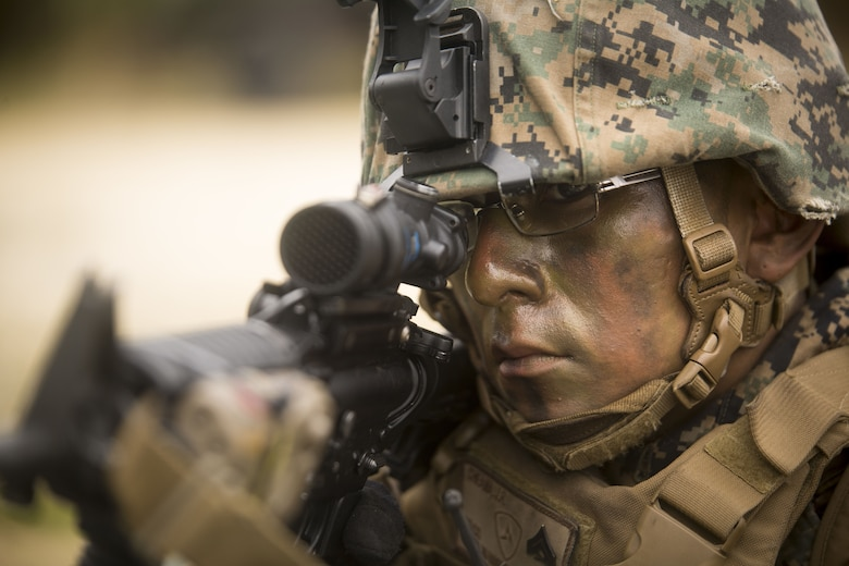 U.S. Marine Cpl. Jason Cheama posts security during Exercise Samurai Jan. 23, 2018, on Camp Hansen, Okinawa, Japan. Marines with Headquarters and Support Battalion, 3rd Marine Division trained to refine their skills for Division operations in an expeditionary environment. Cheama, a native of Zuni, New Mexico, supported the exercise as an assistant team leader in a provisional rifle squad.