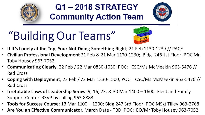 The Community Action Team is a group that focuses on collaboration as a tool to identify the needs and trends of service members and their families here. The goal of the Community Action Team is to build healthy military and family members through partnership between agencies on base.