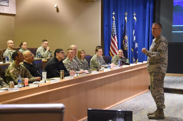 U.S. Air Force Gen. John Hyten, commander of U.S. Strategic Command (USSTRATCOM), delivers remarks during the inaugural non-commissioned officer (NCO) and petty officer (PO) joint professional development seminar at Offutt Air Force Base, Neb., Jan. 25, 2018. During the two-day course, NCOs and POs assigned to USSTRATCOM and the 55th Wing discussed leadership techniques with senior enlisted leaders and officers through a series of discussion panels and briefings. This pilot course was developed by USSTRATCOM's senior enlisted leaders to enhance the effectiveness of soldiers, sailors, airmen and Marines at the E-5 and E-6 level through joint professional military education.