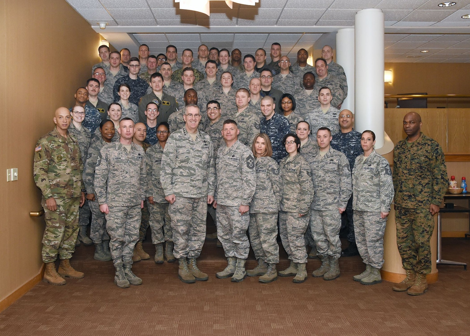 U.S. Air Force Gen. John Hyten (front, third from left), commander of U.S. Strategic Command (USSTRATCOM); U.S. Air Force Chief Master Sgt. Patrick McMahon (front, fourth from left), senior enlisted leader of USSTRATCOM; and other senior enlisted leaders mentored participants of the inaugural non-commissioned officer (NCO) and petty officer (PO) joint professional development seminar at Offutt Air Force Base, Neb., Jan. 25, 2018. During the two-day course, NCOs and POs assigned to USSTRATCOM and the 55th Wing discussed leadership techniques with senior enlisted leaders and officers through a series of discussion panels and briefings. This pilot course was developed by USSTRATCOM's senior enlisted leaders to enhance the effectiveness of soldiers, sailors, airmen and Marines at the E-5 and E-6 level through joint professional military education.