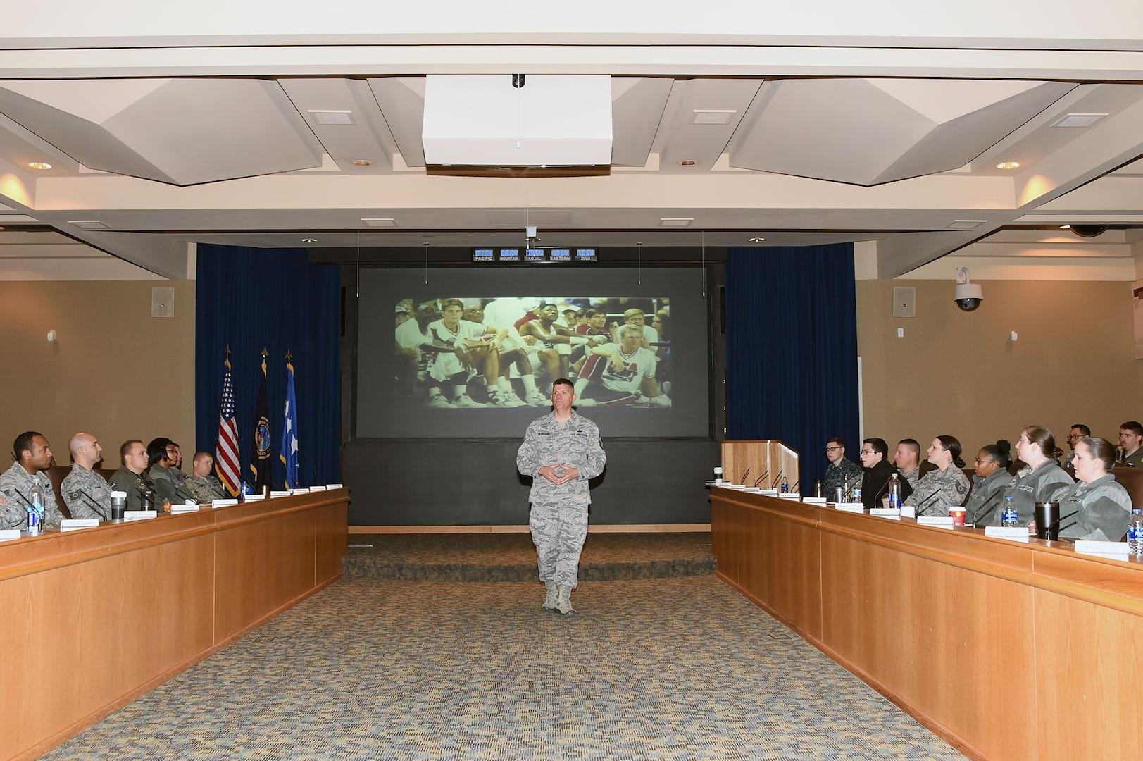 U.S. Air Force Chief Master Sgt. Patrick McMahon, senior enlisted leader of U.S. Strategic Command (USSTRATCOM), delivers remarks during the inaugural non-commissioned officer (NCO) and petty officer (PO) joint professional development seminar at Offutt Air Force Base, Neb., Jan. 24, 2018. During the two-day course, NCOs and POs assigned to USSTRATCOM and the 55th Wing discussed leadership techniques with senior enlisted leaders and officers through a series of discussion panels and briefings. This pilot course was developed by USSTRATCOM's senior enlisted leaders to enhance the effectiveness of soldiers, sailors, airmen and Marines at the E-5 and E-6 level through joint professional military education.