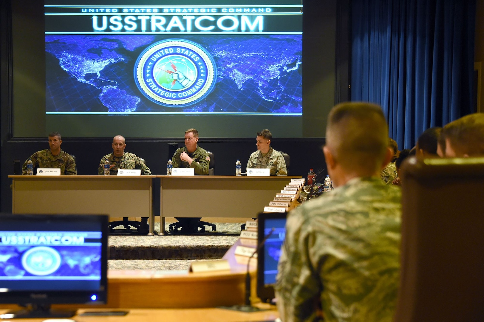 Left to right: U.S. Army Col. Kevin McCann, capability and resource analysis division chief in U.S. Strategic Command's (USSTRATCOM) Capability and Resource Integration directorate; U.S. Marine Corps Col. Branden Bailey, Joint Fires Element division chief in USSTRATCOM's Global Operations directorate; U.S. Navy Capt. Clinton Smith, Training division chief in USSTRATCOM's Global Operations directorate; and U.S. Air Force Col. Jeffrey Raiman, Strategic Targeting Intelligence division chief in USSTRATCOM's Plans and Policy (nuclear) directorate, participate in a graduated commander's panel during the inaugural non-commissioned officer (NCO) and petty officer (PO) joint professional development seminar at Offutt Air Force Base, Neb., Jan. 24, 2018. During the two-day course, NCOs and POs assigned to USSTRATCOM and the 55th Wing discussed leadership techniques with senior enlisted leaders and officers through a series of discussion panels and briefings. This pilot course was developed by USSTRATCOM's senior enlisted leaders to enhance the effectiveness of soldiers, sailors, airmen and Marines at the E-5 and E-6 level through joint professional military education.
