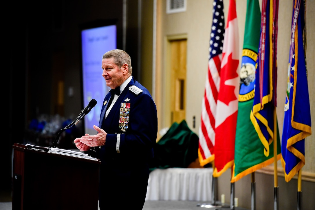Gen. Robin Rand, Air Force Global Strike Command and Air Forces Strategic-Air, U.S. Strategic Command commander, speaks at the Washington Air National Guard's 9th Annual Awards Banquet held at the American Lake Conference Center on Joint Base Lewis-McChord, Washington, Jan. 27, 2018.  (U.S. Air National Guard Photo by Tech. Sgt. Timothy Chacon)