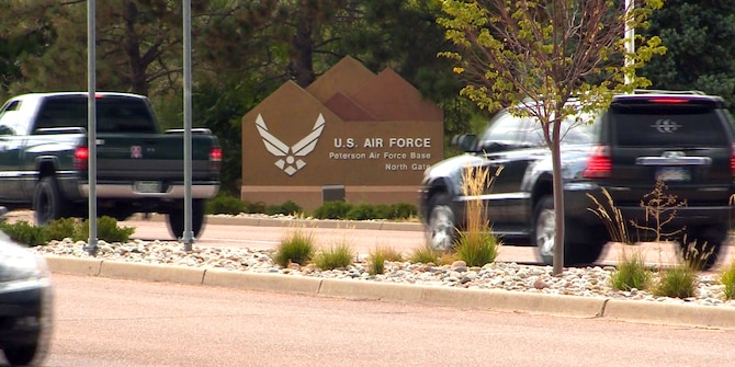 PETERSON AIR FORCE BASE, Colo. – The north gate on Peterson Air Force Base, Colorado, is the busiest gate on base, with peak traffic times being from 7:30-8:30 a.m. and 4-5:30 p.m., according to Tim Omdal, 21st Security Forces Squadron deputy director. If more people switch their commute and drive on base through the west gate, this could help alleviate traffic at the north gate, Omdal said. (Courtesy photo)