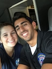 Senior Airman Angelo DePrimo, 366th Contracting Squadron contract specialist, poses for a photo with his wife, Leah, after their shift as emergency medical technicians in New York City. Before joining the Air Force, DePrimo worked as an EMT for the second busiest unit in New York City.