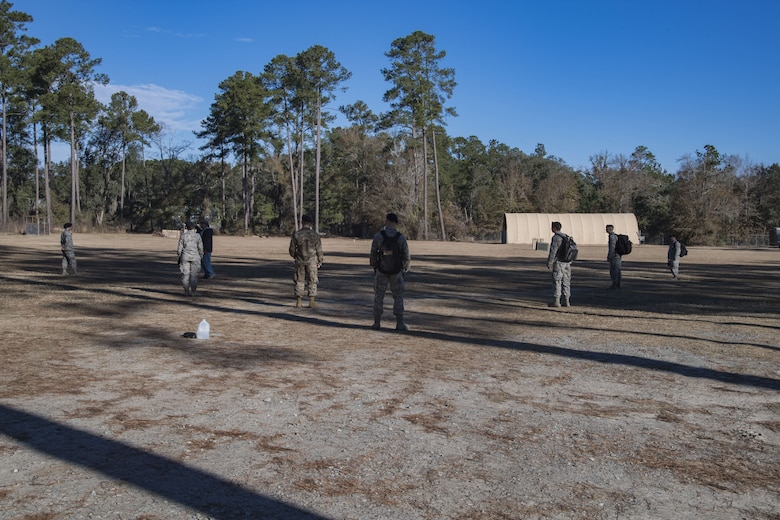 Members of the 820th Base Defense Group practice sweep formations during counter-improvised explosive device training, Jan. 24, 2018, at Moody Air Force Base, Ga. The 820th BDG defenders on how to detect IEDs and counter measures to take when one is found. IEDs have become one of the most common forms of attack in the Middle East since 2003. (U.S. Air Force photos by Staff Sgt. Eric Summers Jr.)