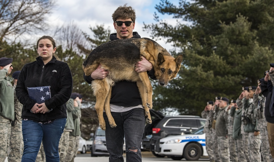 Members of the 436th Security Forces Squadron render a final salute to retired Military Working Dog Rico as his former handler, retired Tech. Sgt. Jason Spangenberg, carries him to the Veterinary Treatment Facility Jan. 24, 2018, on Dover Air Force Base, Del. Mya Spangenberg carried a U.S. flag as she accompanied her father. (U.S. Air Force photo by Roland Balik)
