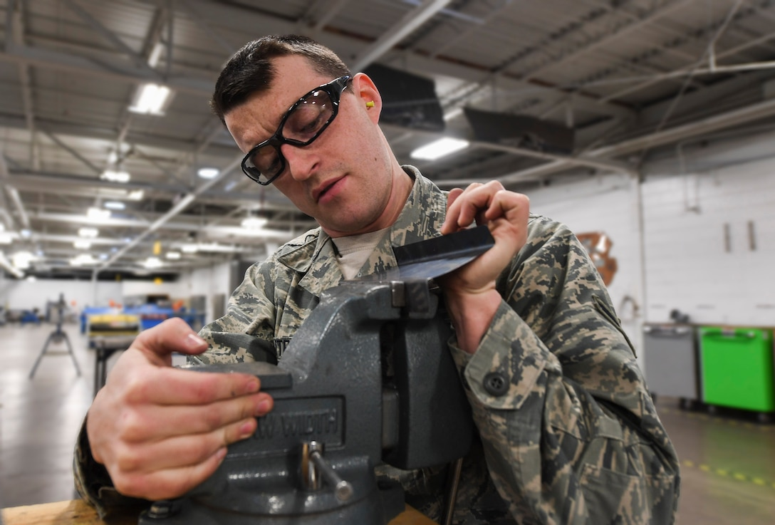 The 5th Maintenance Squadron aircraft structural maintenance shop is responsible for repairing damage and wear to B-52H Stratofortresses at Minot Air Force Base, N.D. Structural maintenance also provides equipment maintenance and special support for the Minuteman III missiles and UH-1N Iroquois helicopters.