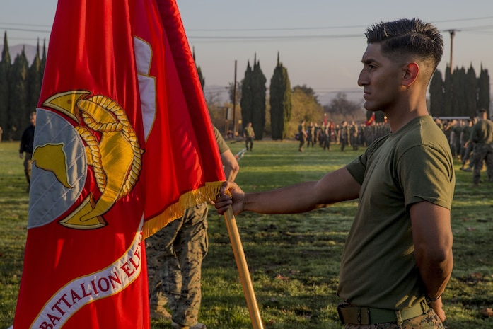 U.S. Marine Corps Sgt. Jonathan Ortiz with 11th Marine Regiment, 1st Marine Division, stands at parade rest during a field meet at Marine Corps Base Camp Pendleton, Calif., Jan. 11, 2018.