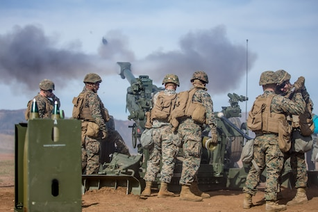 U.S. Marines with Fox Battery, 2nd Battalion, 11th Marine Regiment, 1st Marine Division, fire a M777A2 155mm howitzer during a weapons demonstration at Marine Corps Base Camp Pendleton, Calif., Jan. 16, 2018.