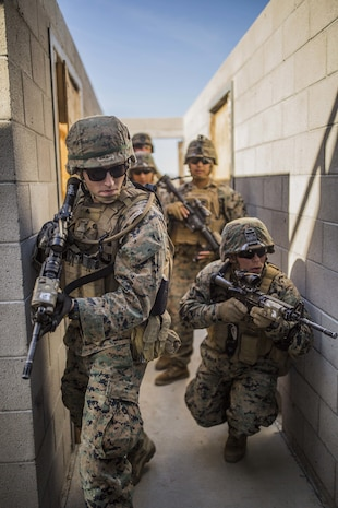 U.S. Marines with 1st Combat Engineer Battalion clear hallways during exercise Iron Fist 2018, Jan. 18.