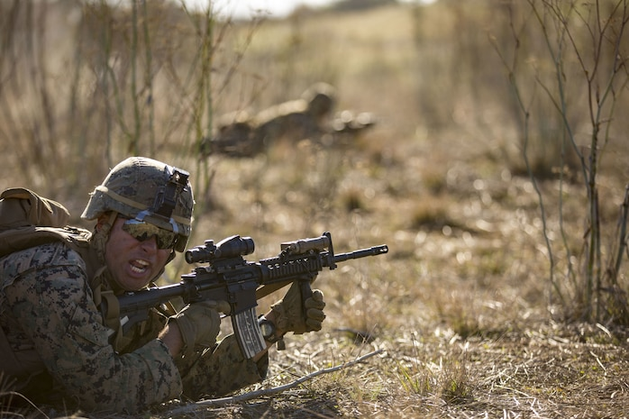 Pfc. Jose Martinez, an infantrymen with, Alpha Company, 1st Battalion, 4th Marines, 1st Marine Division aims down the sights as part of live fire training during exercise Iron Fist 2018, Jan. 17