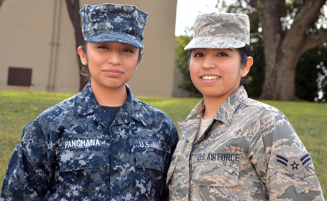 Sisters and service members, Navy Seaman Michelle Panchana (left) and Air Force Airman 1st Class Gisella Panchana (right) were students together at the Medical Education and Training Campus at Joint Base San Antonio-Fort Sam Houston from August 2017 to January 2018. Airman Panchana graduated from the METC Radiology Program Jan. 30, while Seaman Panchana is scheduled to complete the METC Pharmacy Program in April.