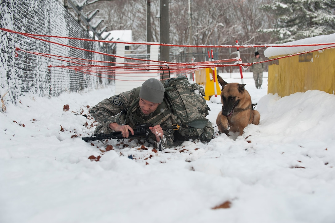 The two-day 35th Security Forces Squadron Winter Warrior Challenge kicked off early morning, Dec. 13, during a thick snow storm at Misawa Air Base.