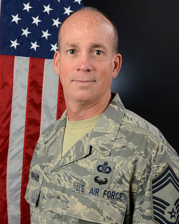 U.S. Air Force Chief Master Sgt. Dale Kirkham, the 169th Operations Group superintendant, at McEntire Joint National Guard Base, S.C., April 4, 2017. (U.S. Air National Guard photo by Senior Airman Megan Floyd)