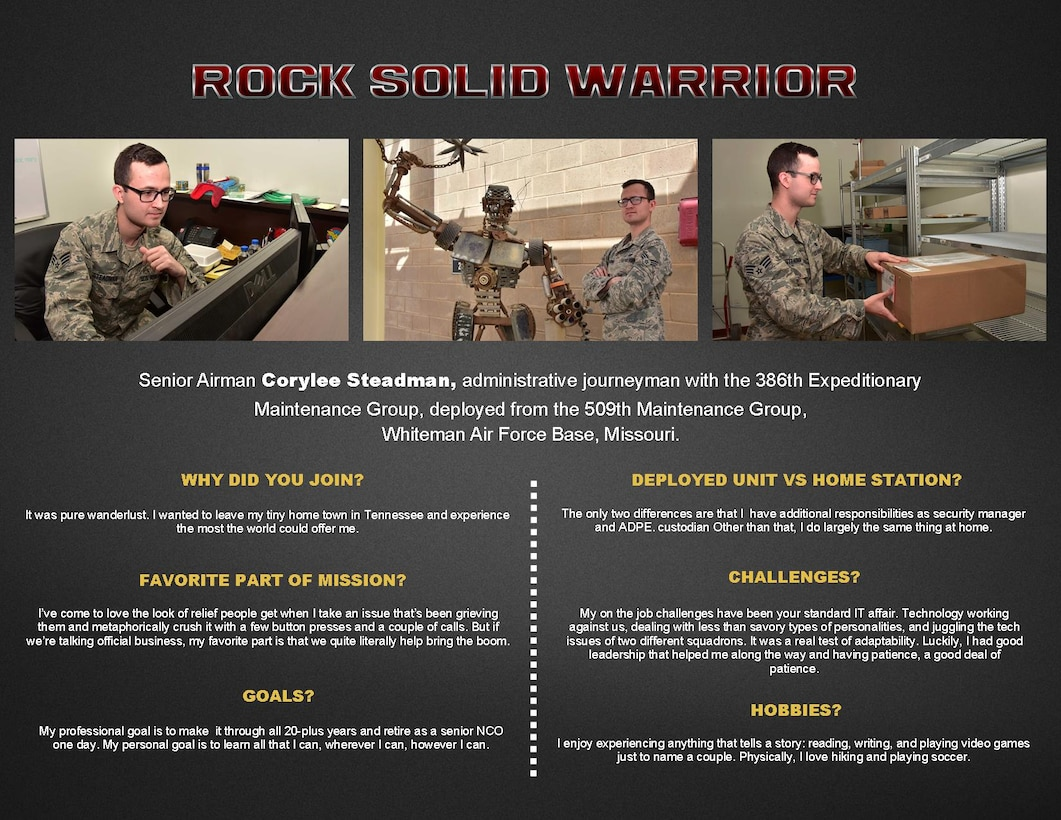 The Rock Solid Warrior program is a way to recognize and spotlight the Airmen of the 386th Air Expeditionary Wing for their positive impact and commitment to the mission.
