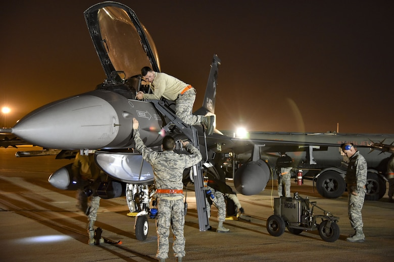 MARCH ARB, CA - The 114th Fighter Wing deployed more than 90 Airmen and nine F-16 Fighting Falcons for their Lobo Summit 2018 training deployment to March Air Reserve Base in Riverside, CA, Jan. 4-19.