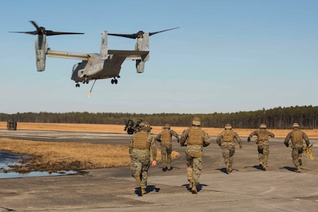 Marines with Landing Support Company, 2nd Transportation Support Battalion, 2nd Marine Logistics Group rush towards a 400 gallon M-149 water tank trailer to prepare it for transportation during sling load operations at Camp Lejeune, N.C., Jan. 25, 2018. The Marines conducted sling load operations to improve their proficiency with loading equipment onto aircraft for transportation. (U.S. Marine Corps photo by Sgt. Chris Garcia)