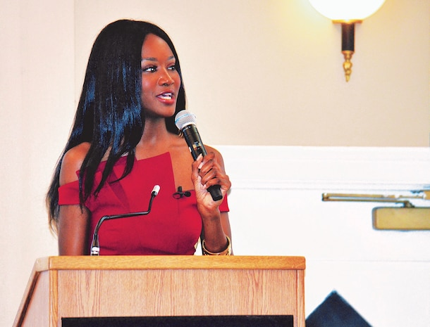 United States Army Reserve Capt. and 2016 Miss USA Deshauna Barber was welcomed as the keynote speaker for the annual Prince William County Chamber of Commerce Veterans Council Salute to the Armed Forces event at The Clubs of Quantico, aboard Marine Corps Base Quantico.