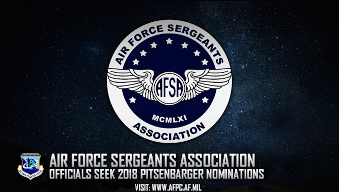 Officials are currently accepting nominations for the 2018 Air Force Sergeants Association Pitsenbarger Award through March 1, 2018. The award is presented annually to an Air Force enlisted member who has performed a heroic act, on or off duty, which resulted in the saving of life or prevention of serious injury. (U.S. Air Force graphic by Staff Sgt. Alexx Pons)