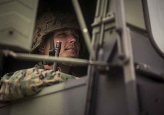 U.S. Marine Master Sgt. John W. Miles leads a convoy operation during Exercise Samurai Jan. 23, 2018, on Camp Hansen, Okinawa, Japan. Marines with Headquarters and Support Battalion, 3rd Marine Division trained to refine their skills for Division operations in an expeditionary environment. Miles, a native of Knoxville, Tennessee, supported the exercise as the administrative senior enlisted advisor.