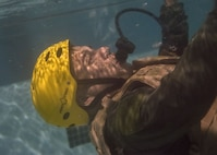 Master Sgt. Robert Alvarado, 41st Rescue Squadron special missions aviator, sinks in a pool, Jan. 25, 2018, at Moody Air Force Base, Ga. Aircrew members participated in an underwater survival course to prepare themselves for a situation in which their aircraft were to crash in the water. (U.S. Air Force photo by Airman Eugene Oliver)