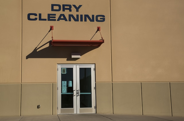 Marine Corps Air Station (MCAS) Yuma's station dry-cleaners sits, unbothered, behind the Marine Corps Exchange on MCAS Yuma, Ariz., Jan. 11, 2017.  The station dry-cleaners is a service provided by the MCX to Marines and civilians, which provides them the opportunity to get their garments cleaned, pressed, fitted, altered or a combination of services if needed. (U.S. Marine Corps photo taken by Cpl. Isaac Martinez)