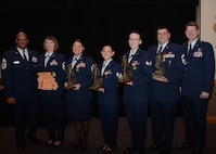 The Missouri Air National Guard 2017 Outstanding Airmen of the year are joined by Brig. Gen. Michael Francis, Missouri assistant adjutant general - Air, and Chief Master Sgt. Joseph Hamlett, the Missouri Air National Guard command chief. Pictured from left to right: Hamlett, Master Sgt. Bernadine Eastridge, (Missouri Air National Guard Command Chief Award winner) 139th Airlift Wing, Master Sgt. Kirsten Inwood, (First Sergeant of the Year) 131st Bomb Wing, Staff Sgt. Nanci Young, (NCO of the Year) 139th AW, Senior Airman Jael Watson, (Airman of the Year) 131st BW, Senior Master Sgt. Matthew Mullins, (Senior NCO of the Year) 139th AW, and Francis.