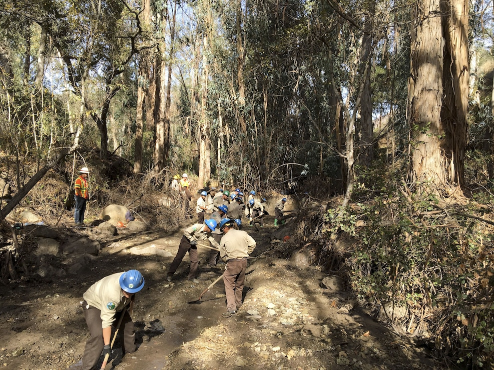 California Conservation Corps working in the Santa Barbara County Santa Monica Basin Jan. 29. The Cs have also assisted Caltrans with mud and debris removal from freeway medians.