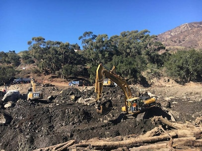 U.S. Army Corps of Engineers Los Angeles District contract partner, Betance Enterprises, Inc., of Riverside, California, is nearing 50 percent cleanup of the Santa Barbara County Romero Debris Basin as of Jan. 29. In all, nearly 1,000 truckloads of debris have been removed.