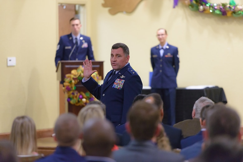 Maj. Gen. Timothy Leahy, 2nd Air Force commander, delivers the opening remarks to the honorary commanders and Keesler leadership during the 2018 Honorary Commanders Induction Ceremony at the Bay Breeze Event Center Jan. 26, 2018, on Keesler Air Force Base, Mississippi. The event recognized the newest members of Keesler's honorary commanders program, which is a partnership between base leadership and local civic leaders to promote strong ties between military and civilian leaders. (U.S. Air Force photo by André Askew)