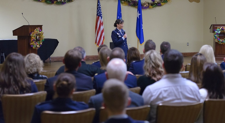 Col. Debra Lovette, 81st Training Wing commander, delivers closing remarks during the 2018 Honorary Commanders Induction Ceremony at the Bay Breeze Event Center Jan. 26, 2018, on Keesler Air Force Base, Mississippi. The event recognized the newest members of Keesler's honorary commanders program, which is a partnership between base leadership and local civic leaders to promote strong ties between military and civilian leaders. (U.S. Air Force photo by André Askew)