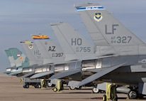 Six F-16 Fighting Falcons sit on the 514th Flight Test Squadron ramp at Hill Air Force Base, Utah, on Nov. 15, 2017. The aircraft are awaiting test flight or to be returned to their assigned units after completion of depot maintenance. (U.S. Air Force photo by Alex R. Lloyd)