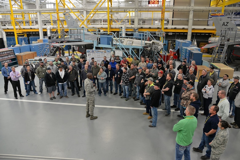 Brig. Gen. Stacey T. Hawkins, Ogden Air Logistics Complex commander, takes a few minutes to meet with a small group of F-16 maintainers from the 573rd Aircraft Maintenance Squadron on Jan. 4, 2018, at Hill Air Force Base, Utah. He expressed his thanks for all the hard work put in to completing the 24 Indonesian F-16 aircraft over the past five years and informed them of all the upcoming work needed to keep U.S. Air Force F-16s flying until 2046.  (U.S. Air Force photo by Alex R. Lloyd)