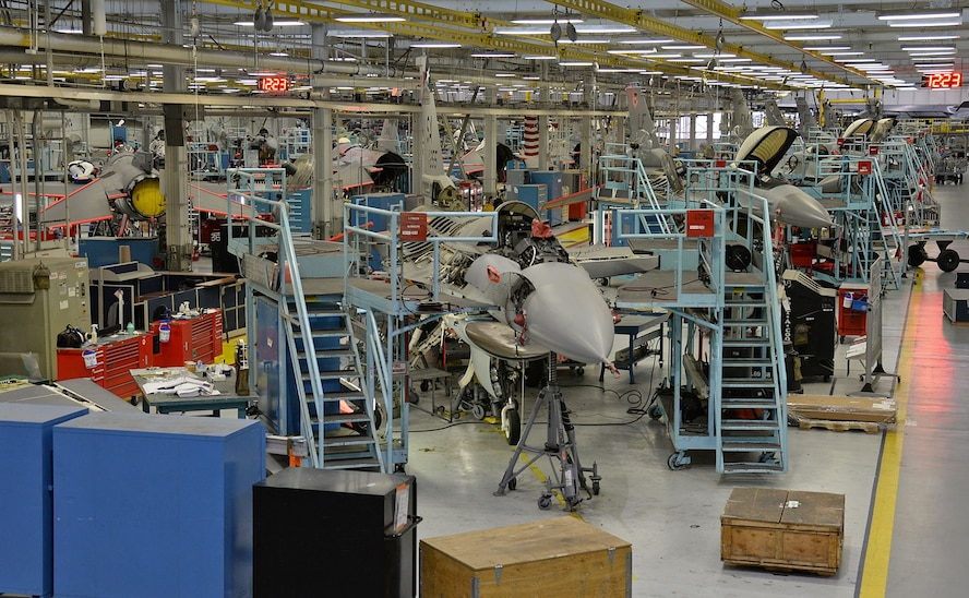 Several F-16s are seen in different stages of depot level maintenance on Jan. 9, 2018, at Hill Air Force Base, Utah. F-16 maintenance workloads are scheduled to increase at Hill over the next few years and last well into the 2040s. (U.S. Air Force photo by Alex R. Lloyd)