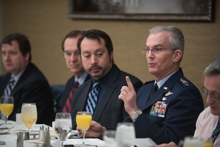 Vice chairman of the Joint Chiefs of Staff makes a point during discussion with reporters.